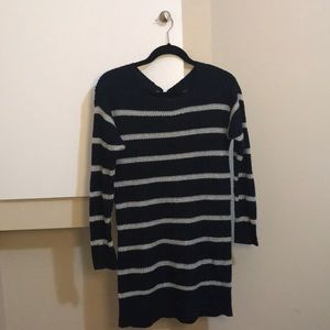 AEO Blue and White Striped Sweater Dress